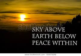 peace quotes sky above earth below royalty stock image