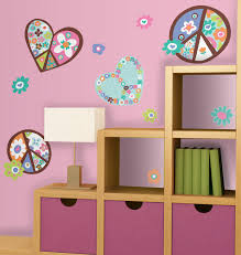 Heart Flower Peace Sign Peel Stick Giant Wall Decal Walldecals Com