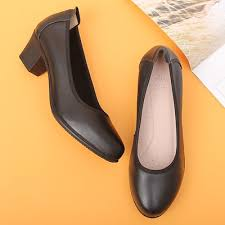 real leather shoes rounded toe black