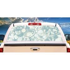 Blue Seashells Rear Window Graphic Truck View Thru Vinyl Decal Back Walmart Com Walmart Com