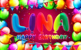 تحميل خلفيات عيد ميلاد سعيد لينا 4k الملونة بالون الإطار لينا