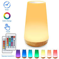 Taipow Night Light Bedside Table Lamp For Baby Kids Room Bedroom Dimmable Eye Caring Led Lamp With Color Changing Touch Senor Remote Control Auto Off Timer Usb Rechargeable Copirpassuilla