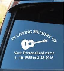 In Loving Memory Of Window Decal Sticker Guitar Music In Loving Memory Ebay