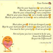 your partner💑 must be quotes writings by pavithra rao