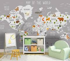 3d Nursery Kids Room Animal World Map Removable Wallpaper Etsy