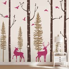 Large Trees Wallpaper Diy Nordic Forest Birch Tree Wall Decal With Deer Baby Nursery Wall Sticker Nursery Vinyl Wall Decals Q129 Wall Stickers Aliexpress