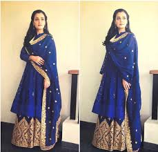 diya mirza in a blue plazzo suit