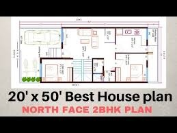 20 x50 north face 2bhk house plan