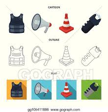 Eps Vector Bulletproof Vest Megaphone Cone Of Fencing Electric Shock Police Set Collection Icons In Cartoon Outline Flat Style Vector Symbol Stock Illustration Web Stock Clipart Illustration Gg105411886 Gograph