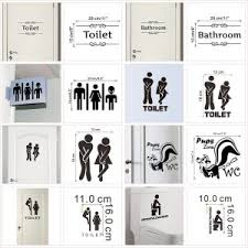 1 Pcs Wc Toilet Entrance Sign Door Stickers For Public Place Creative Pattern Wall Decals Diy Funny Vinyl Mural Art Wallcorners Art Canvas