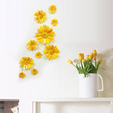 10pcs 3d Art Daisy Flowers Colors Printed Vinyl Wall Sticker Home Bedroom Decors Ebay
