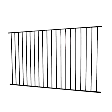 Merchants Metals Freedom Fencing 4 Ft H X 8 Ft W Black Steel Flat Top Decorative In The Metal Fence Panels Department At Lowes Com