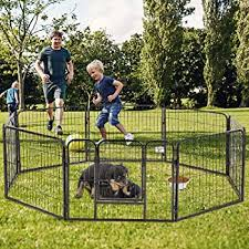 Amazon Com Pet Dog Playpen 8 Panel Protable Foldable Indoor Outdoor Cat Puppy Exercise Pen With Door Animal Wire Yard Heavy Duty Metal Dog Fence Crate Kennel For Small Medium Large Dogs
