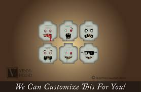 Zombie Minifig Emotion Head Faces Wall Decor Vinyl Decal Digital Print Graphic For You Kids Brick Builder Theme Room 2484
