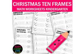 christmas ten frames math worksheets