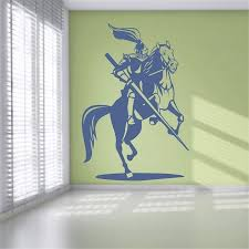 Knight And Horse Vinyl Wall Stickers Available In Different Colors Wall Decal Removable Wallpaper Wall Decor Wall Sticker U664 Wall Stickers Aliexpress