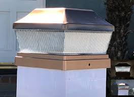 Solar Fence Post Cap Lights For Vinyl Posts 5x5 Copper Set Of 2