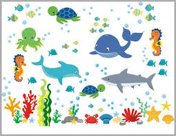 Marine Life Decal Aquarium Wall Decal Ocean Life Wall Stickers Nurserydecals4you