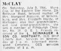 Myra Cox McCLay passed 2 July 1966, Obituary - Newspapers.com