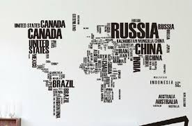 Large English Letters Map Of World Wall Decals Removable World Etsy
