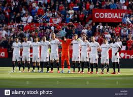 Sevilla FC team seen before the La Liga match between Sevilla FC ...