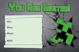 Free Printable Minecraft Birthday Invitations Tarjetas