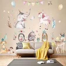 Cute Unicorn Flamingo Wall Sticker For Kids Rooms Home Decor Animal Sticker Wallpaper Girls Room Decoration Wall Wall Stickers Aliexpress