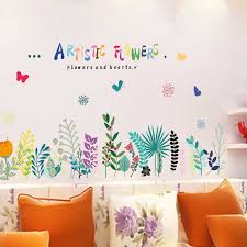 Hand Painted Flowers Skirting Border Wall Sticker Kids Rooms Classroom Decoration Home Decor Living Room Autocollant Murals Wall Stickers Aliexpress