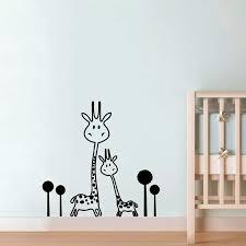 Vinyl Wall Decal Removable Giraffe Wall Sticker Baby Nursery Animals Two Cute Giraffes Wall Sticker Art Transfer Murals Baby Nursery Furniture Baby Giraffe Stuffed Animalnursery Storage Aliexpress