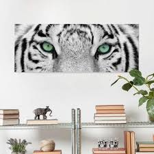 Print On Glass White Tiger Glass Wall Art Panoramic