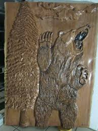 wood carving wall decor bear new ready