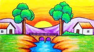 easy sunset scenery drawing how to