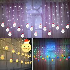 Efaster Christmas Window Curtain Light String Lights 96led 11 5ft Fairy Lights With Remote Control Christmas Snowman Decorations For Bedroom Kids Room Wedding Party Christmas Festival Multicolor Amazon Com