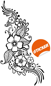 Amazon Com Henna Tattoo Wall Vinyl Sticker Floral Flower Mandala Art Paisley Mehndi Indian Decal Decor Inspired Stencil Black Home Room Joga Mural Home Kitchen