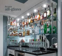 bar with glass shelveirror wall