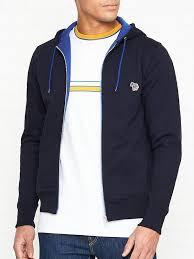 PS PAUL SMITH Zip Through Zebra Logo Hoodie- Navy | very.co.uk