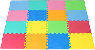Amazon Com Prosource Puzzle Solid Foam Play Mat For Kids 16 Tiles With Edges Sports Outdoors