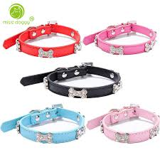 crystal rhinestone leather dog collar