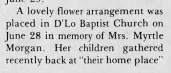 Myrtle Patterson Morgan - D'Lo Baptist Church - Newspapers.com