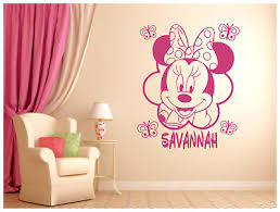 Minnie Mouse Butterflies With Name Vinyl Wall Sticker Decal 22 X27 Colors Ebay