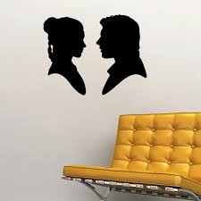 Han Solo And Princess Leia Silhouette Wall Decal 22w X Etsy