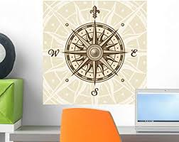 Amazon Com Wallmonkeys Fot 24199653 18 Wm254115 Vintage Compass Rose Peel And Stick Wall Decals H X 18 In W 18 18 W Small Home Kitchen