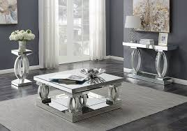 silhouette mirrored coffee table set