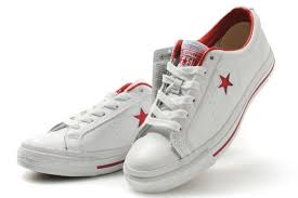 star low tops white red leather