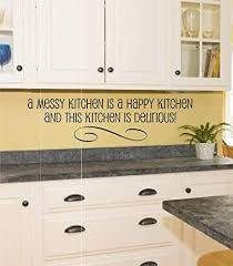 Amazon Com Enchantingly Elegant Kt1012 Messy Happy Kitchen Vinyl Wall Art Decal Word Sticker Home Decor Gift Home Kitchen