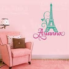 Paris Eiffel Tower Love Girl Custom Name Wall Personalized Vinyl Sticker Decal S Ebay