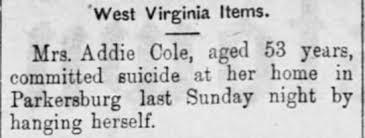 Addie Cole suicide report Shepherdstown Register, 5 Nov 1896, Thur, page 2  - Newspapers.com
