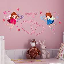 Cartoon Angel Wall Sticker Love Kids Wing Cupid Autocollant For Baby B Home Decor
