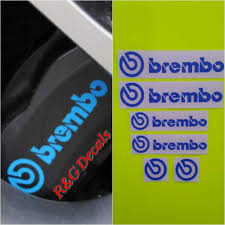 Amazon Com R G Brembo Decal Combo Package For 6 Piston 4 Piston Brembo Logos Brake Caliper Decal Sticker High Temp Set Of 6 Decals Blue Everything Else