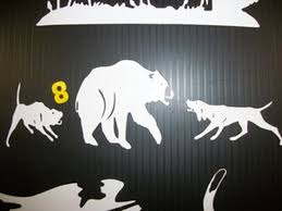 Bayed Bear With 2 Dogs Window Decal S S Hunting Supplies Inc